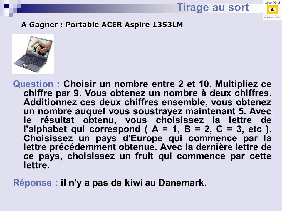Tirage au sort A Gagner : Portable ACER Aspire 1353LM.