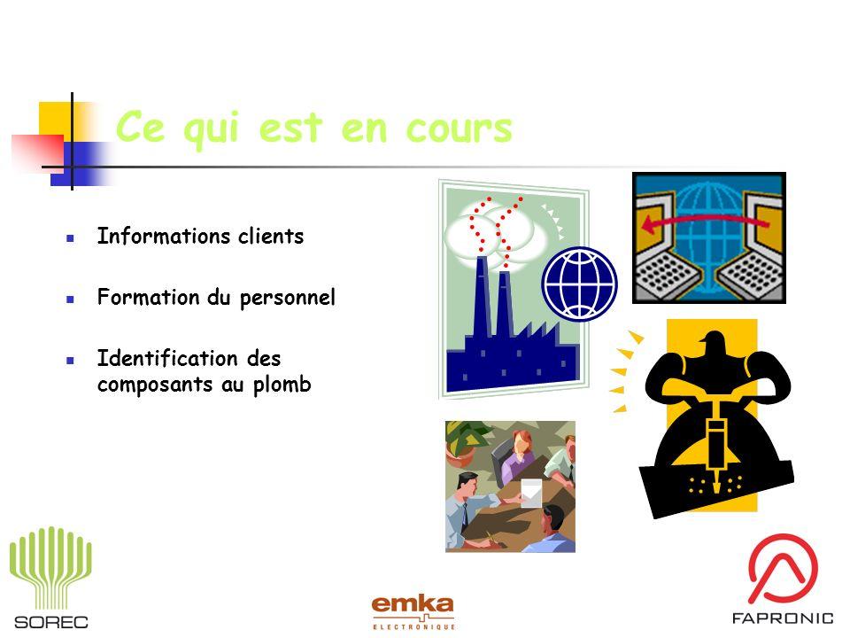 Ce qui est en cours Informations clients Formation du personnel