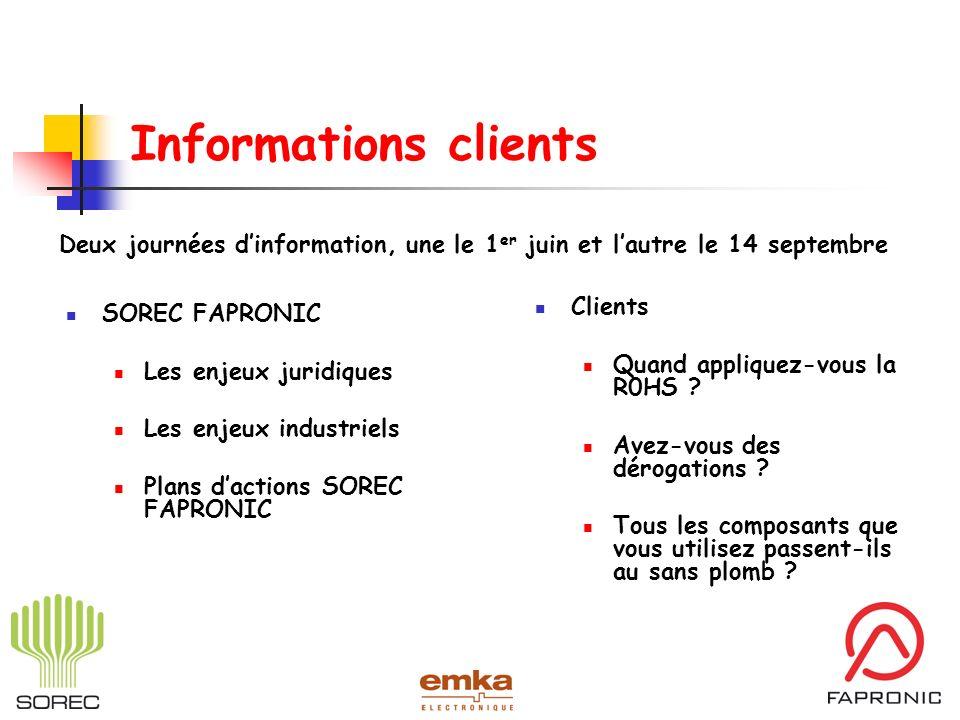 Informations clients Deux journées d'information, une le 1er juin et l'autre le 14 septembre. Clients.