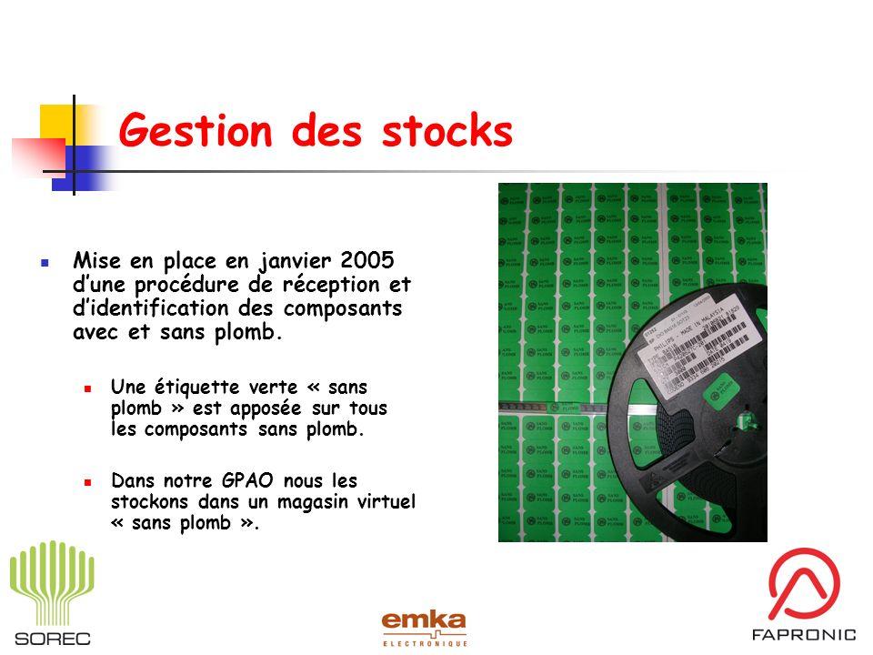 Gestion des stocksMise en place en janvier 2005 d'une procédure de réception et d'identification des composants avec et sans plomb.
