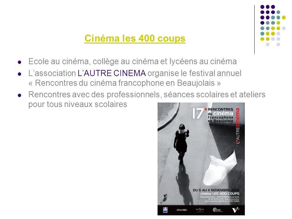 Cinéma les 400 coups Ecole au cinéma, collège au cinéma et lycéens au cinéma.