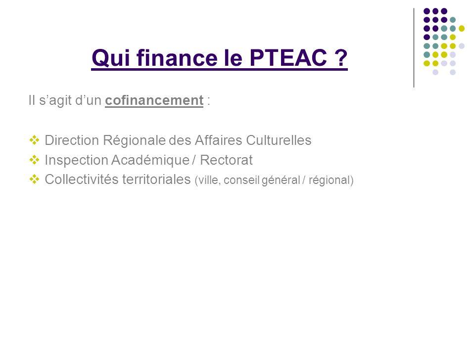 Qui finance le PTEAC Il s'agit d'un cofinancement :