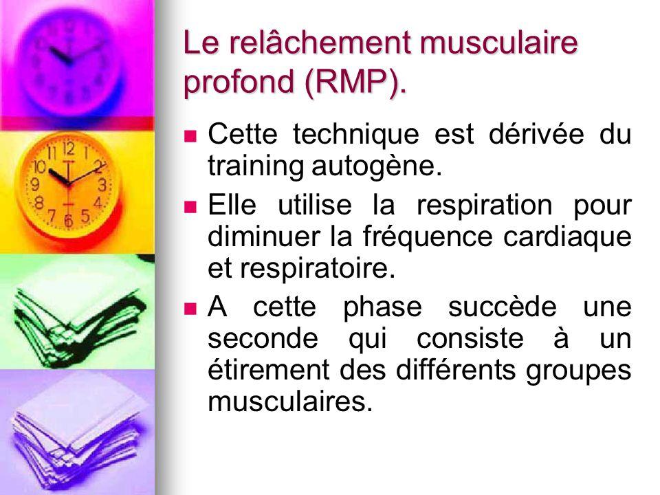 Le relâchement musculaire profond (RMP).