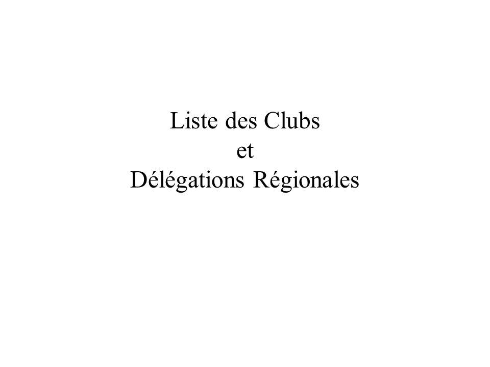 Liste des Clubs et Délégations Régionales