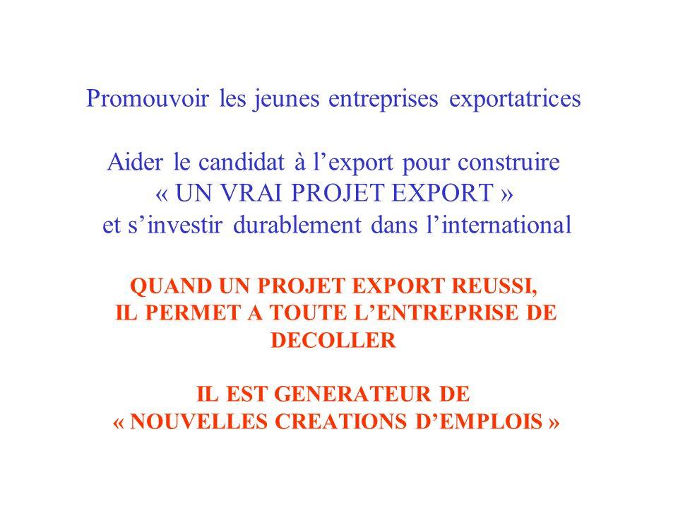 Promouvoir les jeunes entreprises exportatrices Aider le candidat à l'export pour construire « UN VRAI PROJET EXPORT » et s'investir durablement dans l'international QUAND UN PROJET EXPORT REUSSI, IL PERMET A TOUTE L'ENTREPRISE DE DECOLLER IL EST GENERATEUR DE « NOUVELLES CREATIONS D'EMPLOIS »