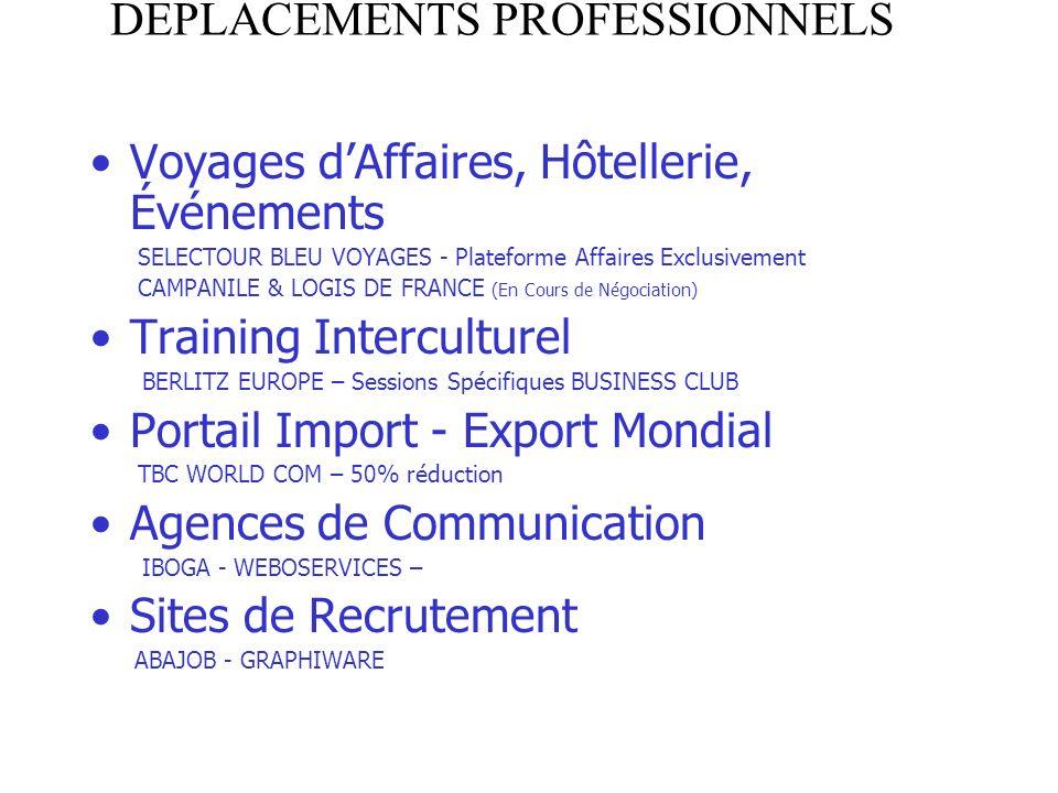 DEPLACEMENTS PROFESSIONNELS