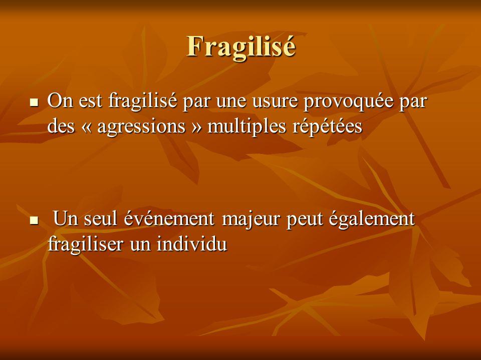 Fragilisé On est fragilisé par une usure provoquée par des « agressions » multiples répétées.