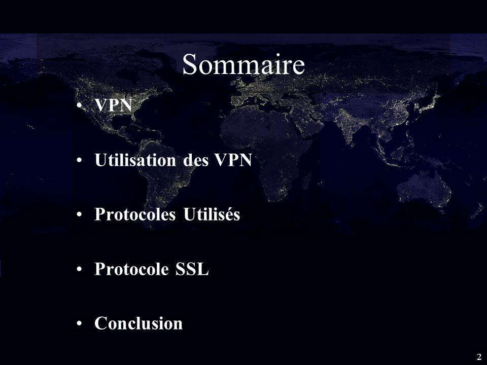 Sommaire VPN Utilisation des VPN Protocoles Utilisés Protocole SSL