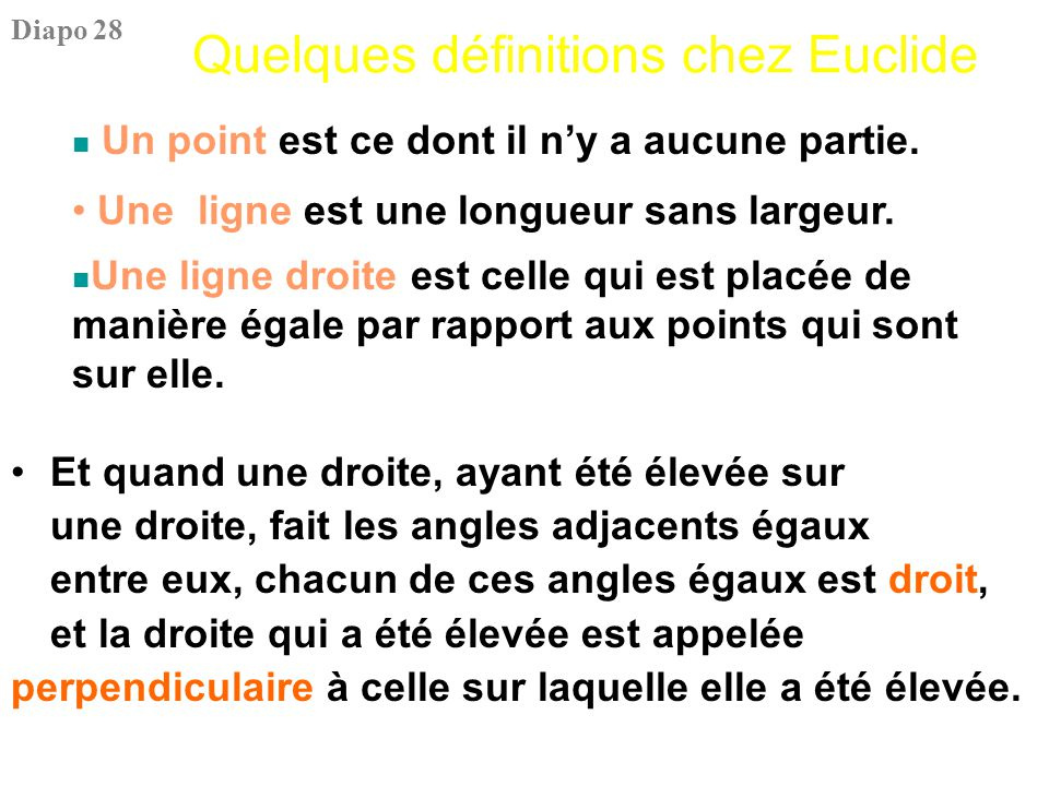 Quelques définitions chez Euclide