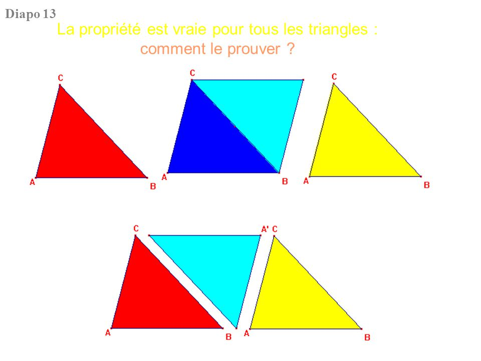 La propriété est vraie pour tous les triangles : comment le prouver