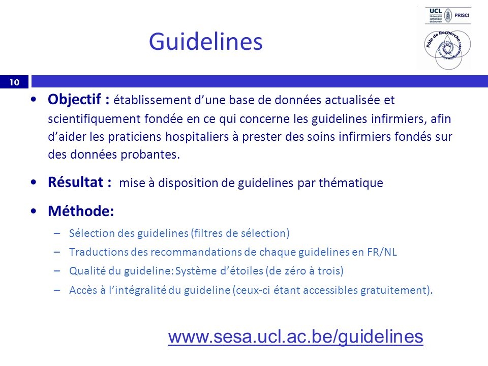 Guidelines www.sesa.ucl.ac.be/guidelines