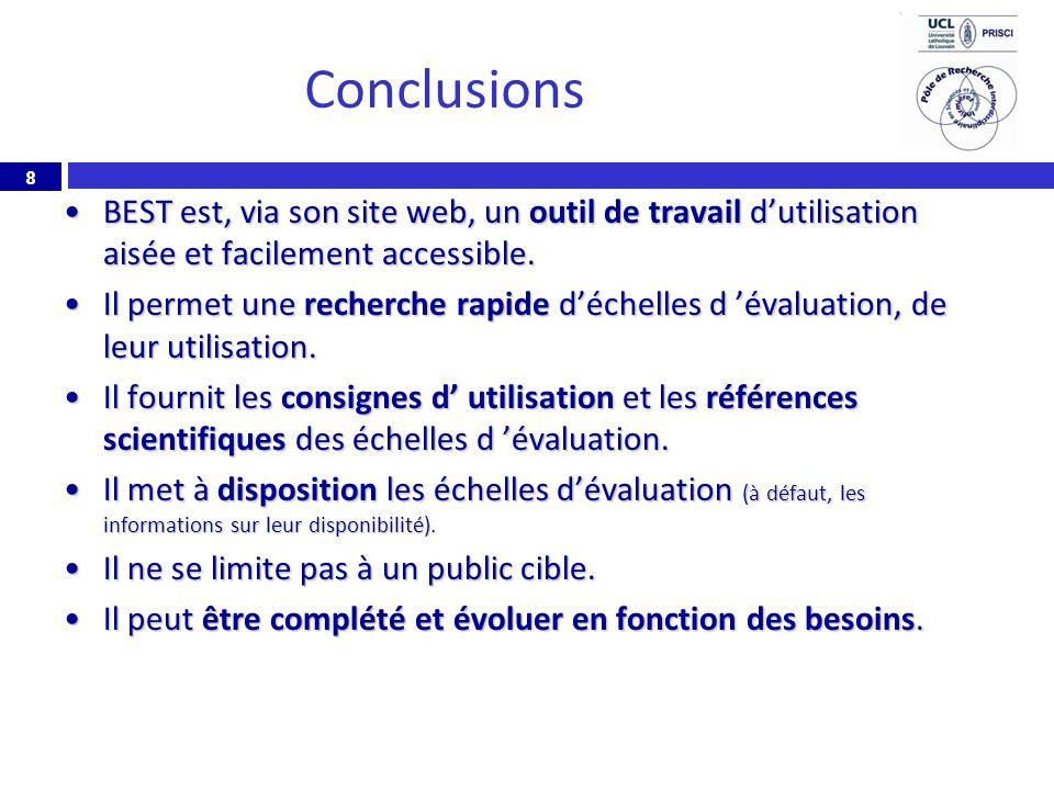 ConclusionsBEST est, via son site web, un outil de travail d'utilisation aisée et facilement accessible.