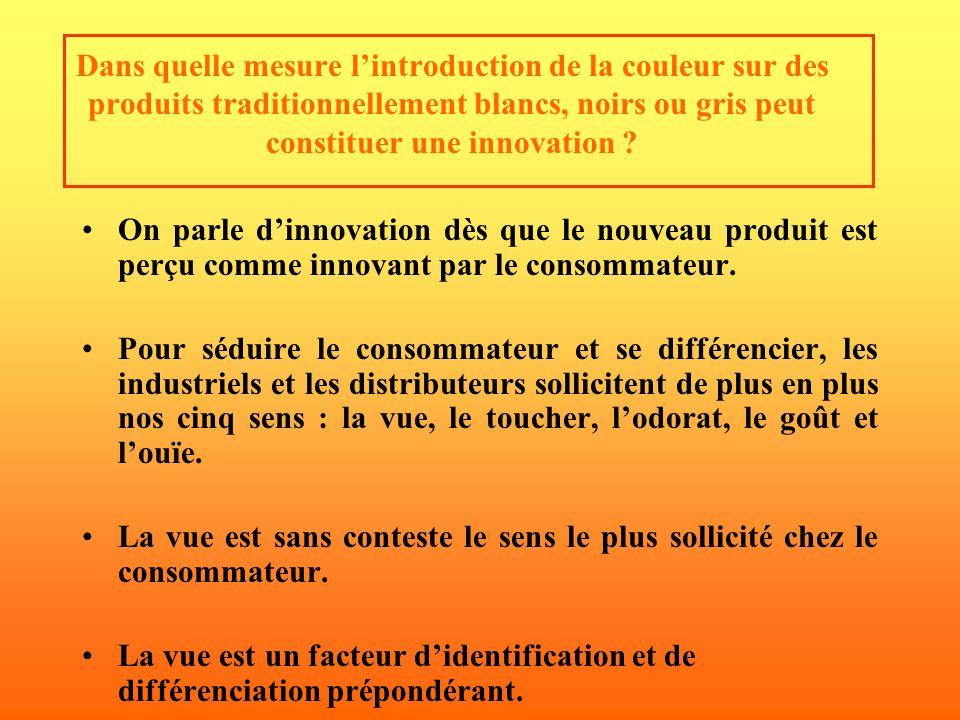 Dans quelle mesure l'introduction de la couleur sur des produits traditionnellement blancs, noirs ou gris peut constituer une innovation