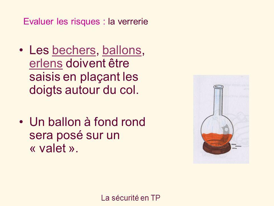 Un ballon à fond rond sera posé sur un « valet ».