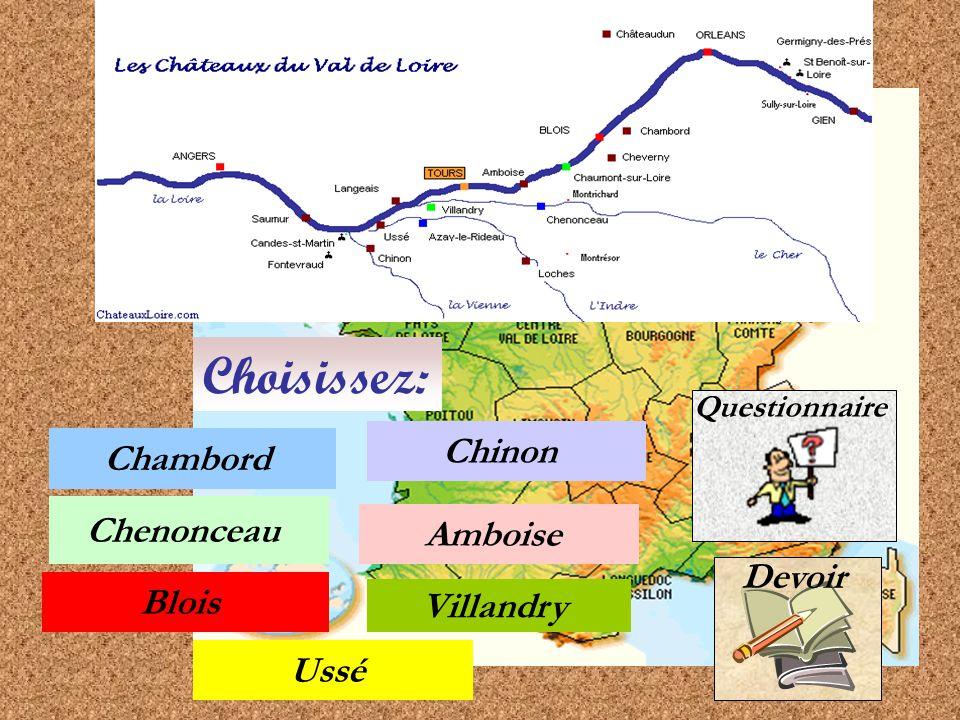 Choisissez: Chinon Chambord Chenonceau Amboise Devoir Blois Villandry