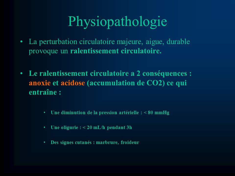 PhysiopathologieLa perturbation circulatoire majeure, aigue, durable provoque un ralentissement circulatoire.