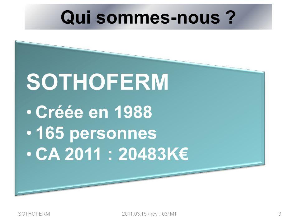SOTHOFERM Qui sommes-nous Créée en 1988 165 personnes