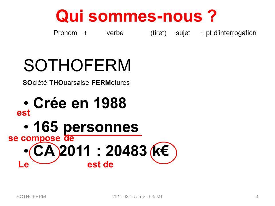 Qui sommes-nous SOTHOFERM Crée en 1988 165 personnes