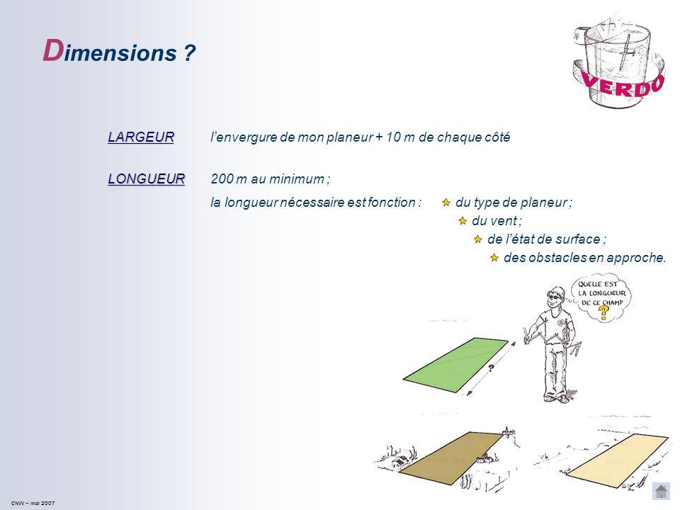 Dimensions LARGEUR l'envergure de mon planeur + 10 m de chaque côté