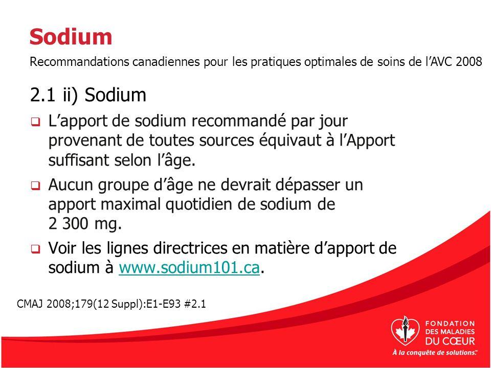 Sodium Recommandations canadiennes pour les pratiques optimales de soins de l'AVC 2008. 2.1 ii) Sodium.