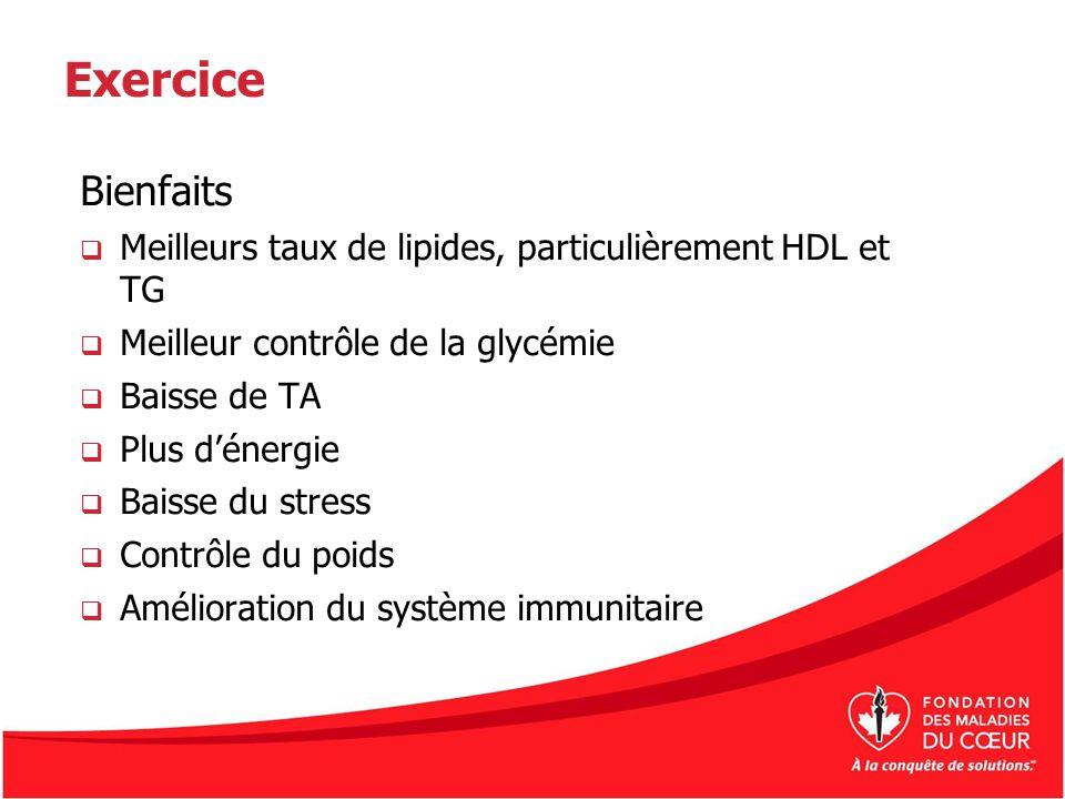 Exercice Bienfaits. Meilleurs taux de lipides, particulièrement HDL et TG. Meilleur contrôle de la glycémie.