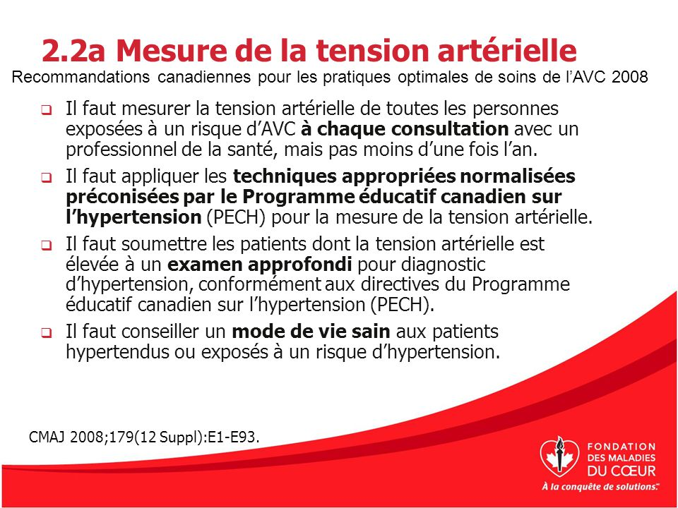 2.2a Mesure de la tension artérielle