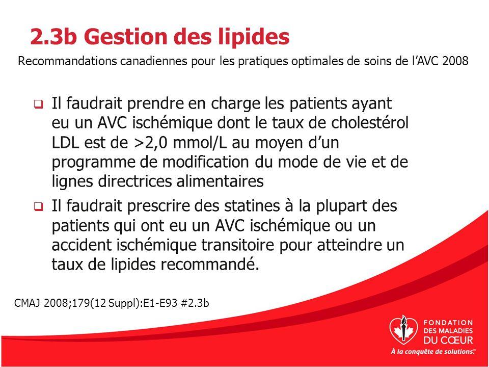 2.3b Gestion des lipides Recommandations canadiennes pour les pratiques optimales de soins de l'AVC 2008.