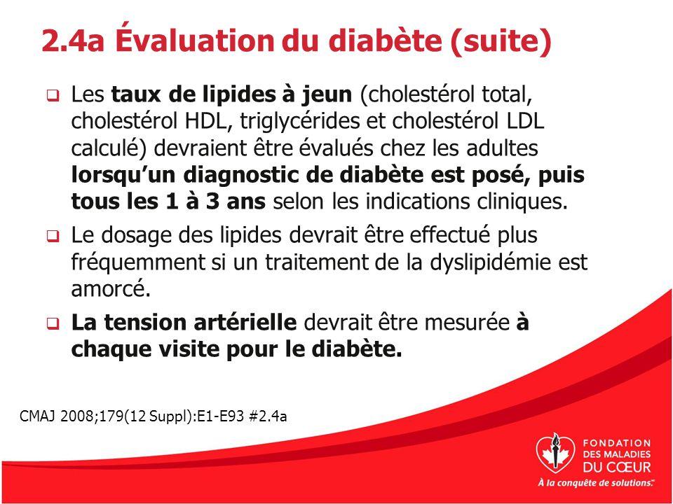2.4a Évaluation du diabète (suite)