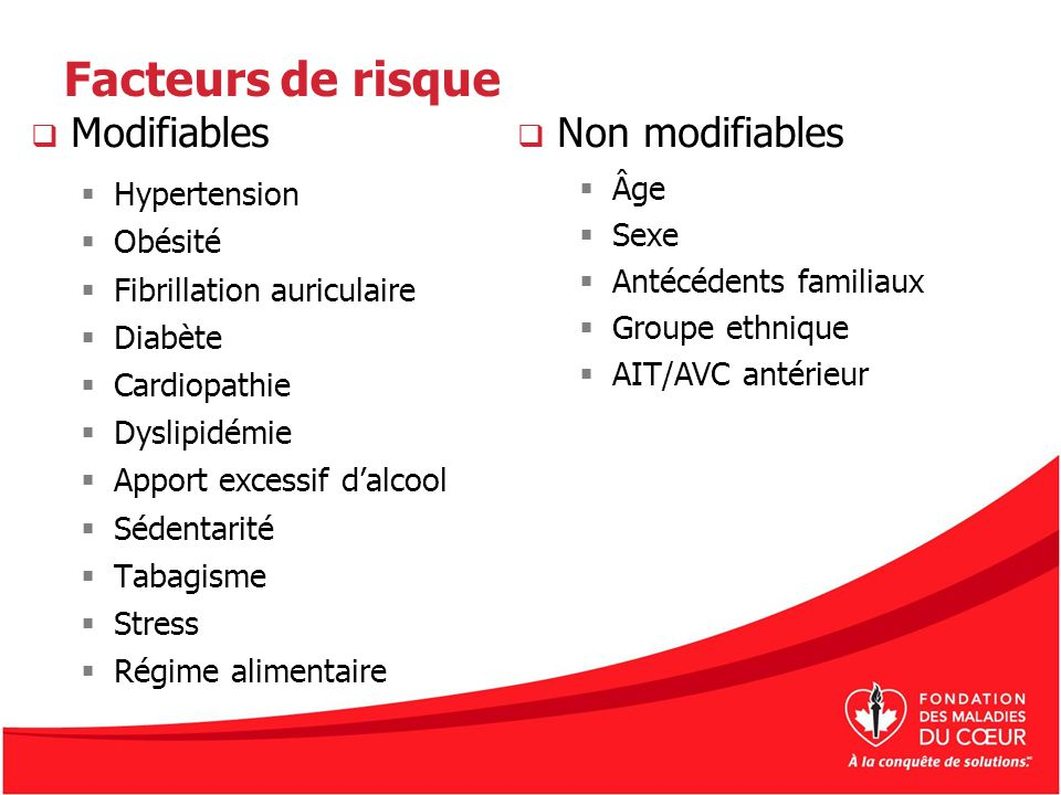 Facteurs de risque Modifiables Non modifiables Hypertension Âge