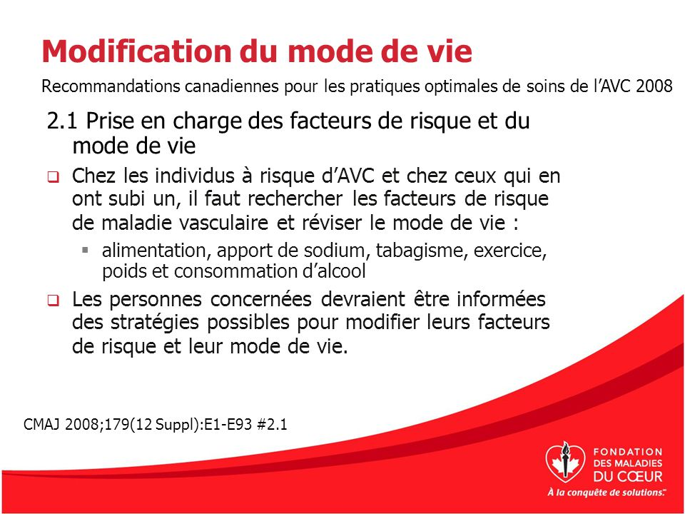 Modification du mode de vie