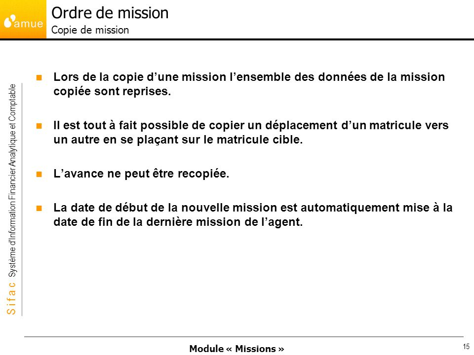 Ordre de mission Copie de mission