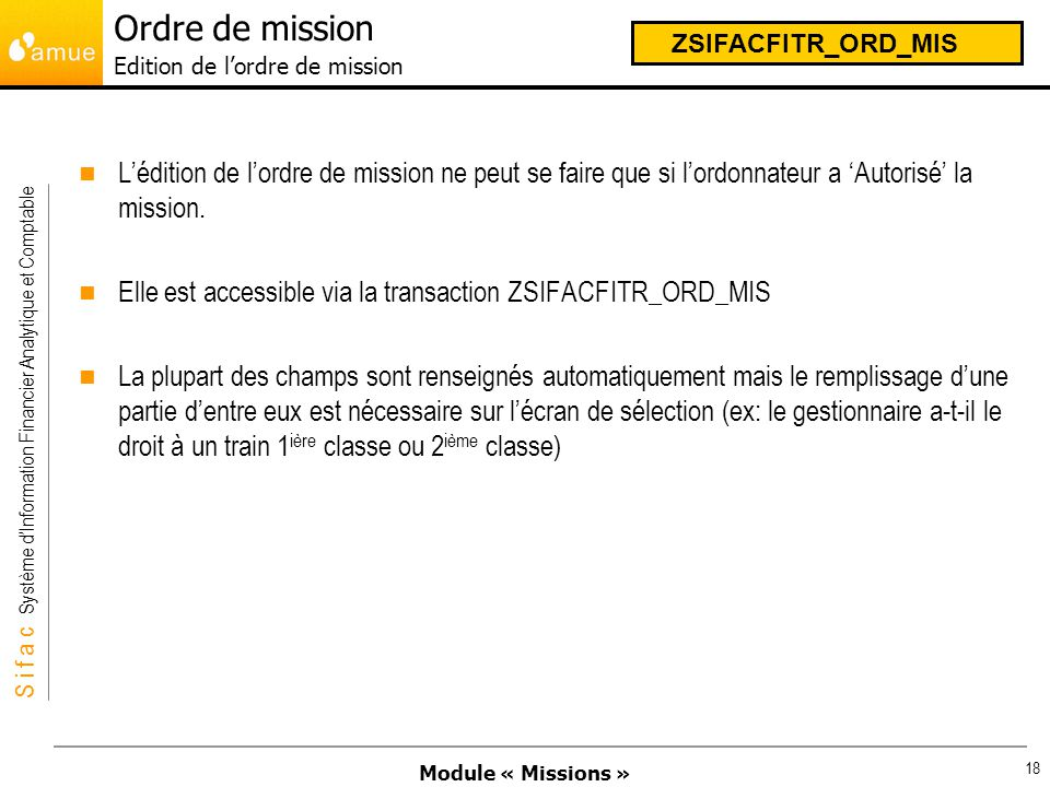 Ordre de mission Edition de l'ordre de mission