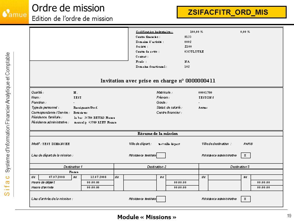 Ordre de mission Edition de l'ordre de mission