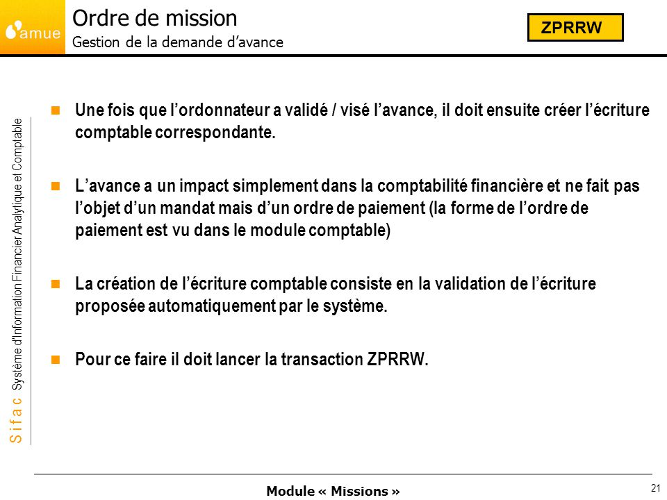 Ordre de mission Gestion de la demande d'avance