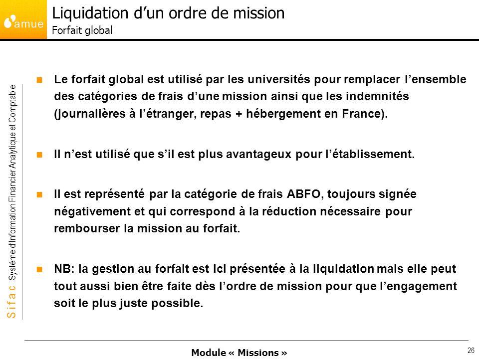 Liquidation d'un ordre de mission Forfait global