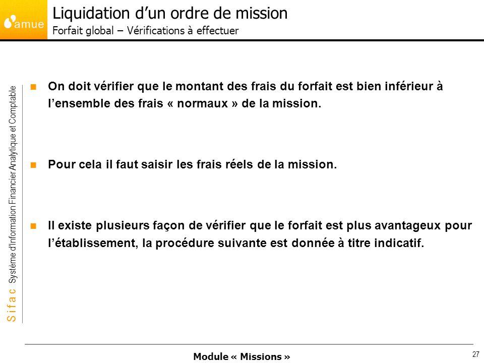 Liquidation d'un ordre de mission Forfait global – Vérifications à effectuer