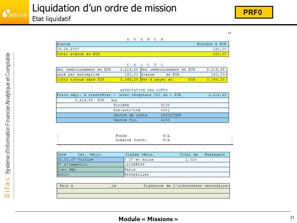 Liquidation d'un ordre de mission Etat liquidatif