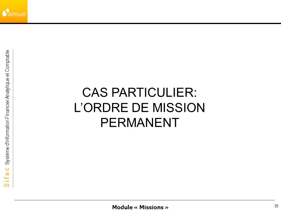 L'ORDRE DE MISSION PERMANENT