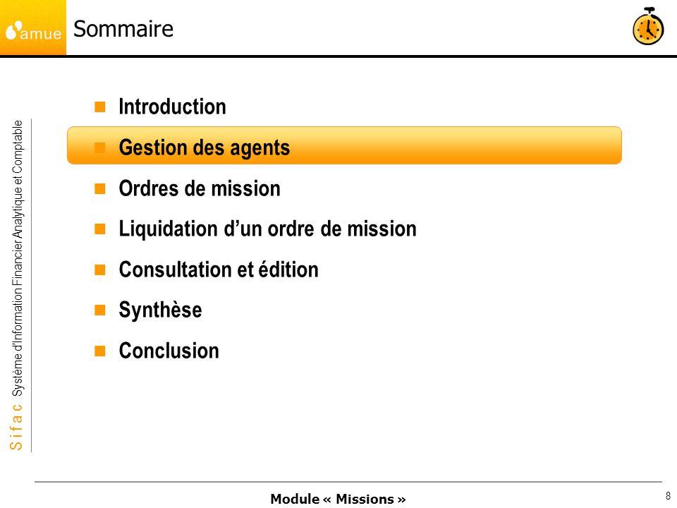 Liquidation d'un ordre de mission Consultation et édition Synthèse