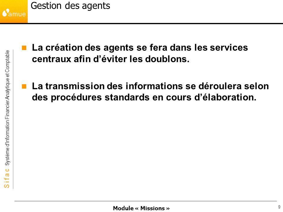 Gestion des agents La création des agents se fera dans les services centraux afin d'éviter les doublons.