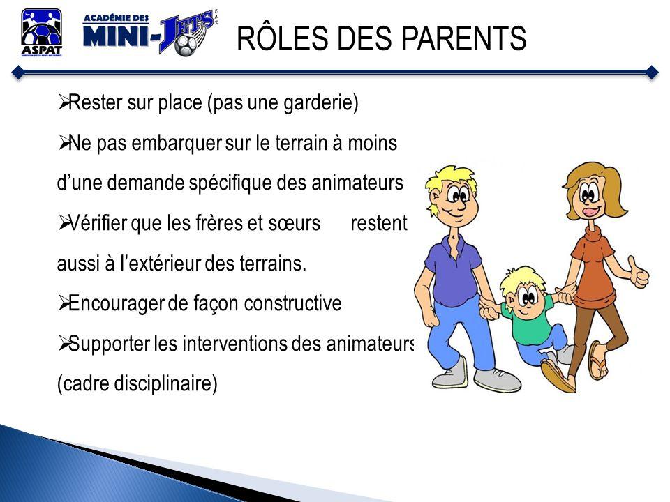 RÔLES DES PARENTS Rester sur place (pas une garderie)
