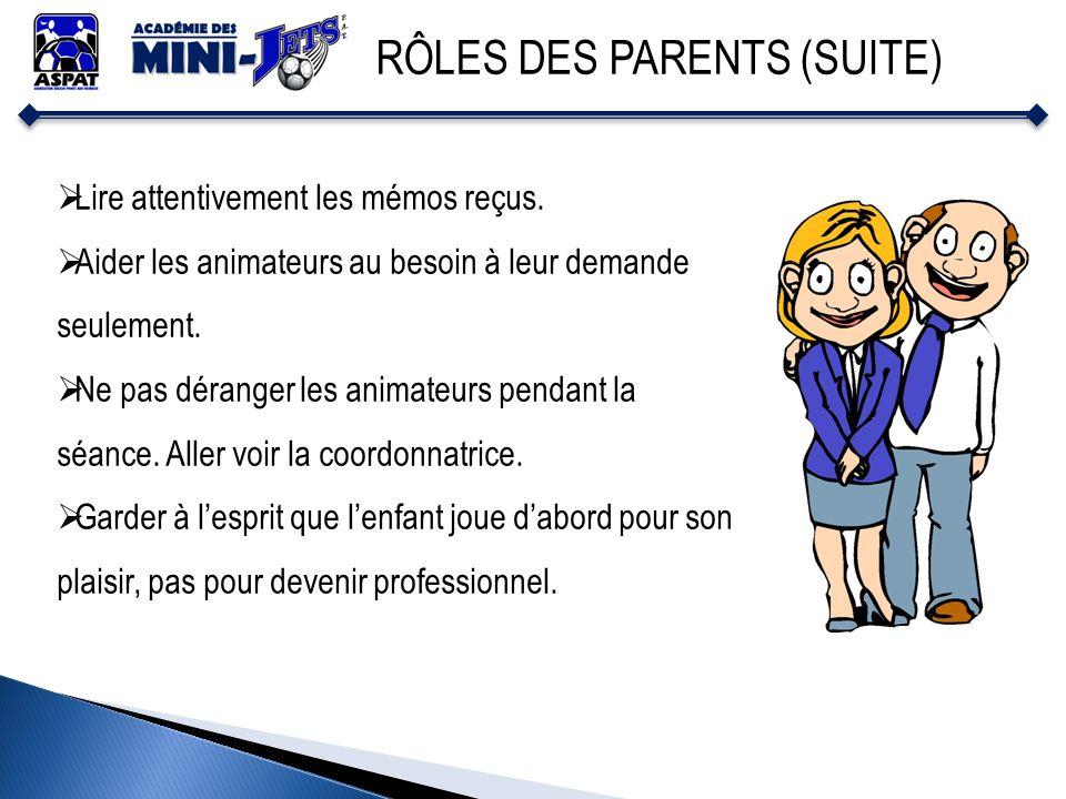 RÔLES DES PARENTS (SUITE)