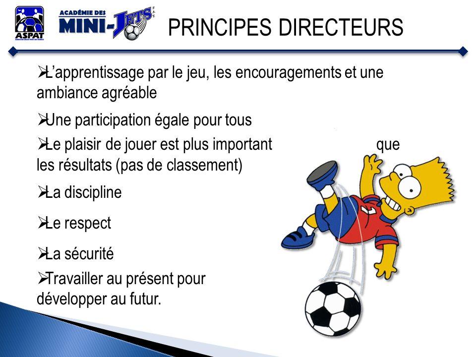 PRINCIPES DIRECTEURS L'apprentissage par le jeu, les encouragements et une ambiance agréable. Une participation égale pour tous.