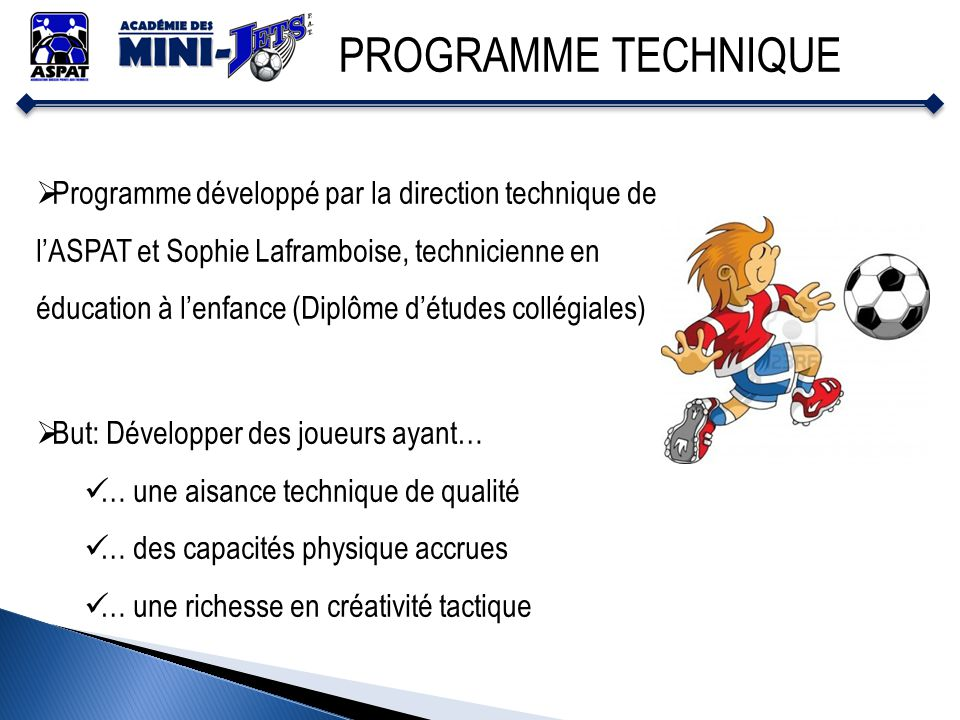 PROGRAMME TECHNIQUE