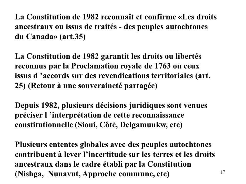 La Constitution de 1982 reconnaît et confirme «Les droits ancestraux ou issus de traités - des peuples autochtones du Canada» (art.35)