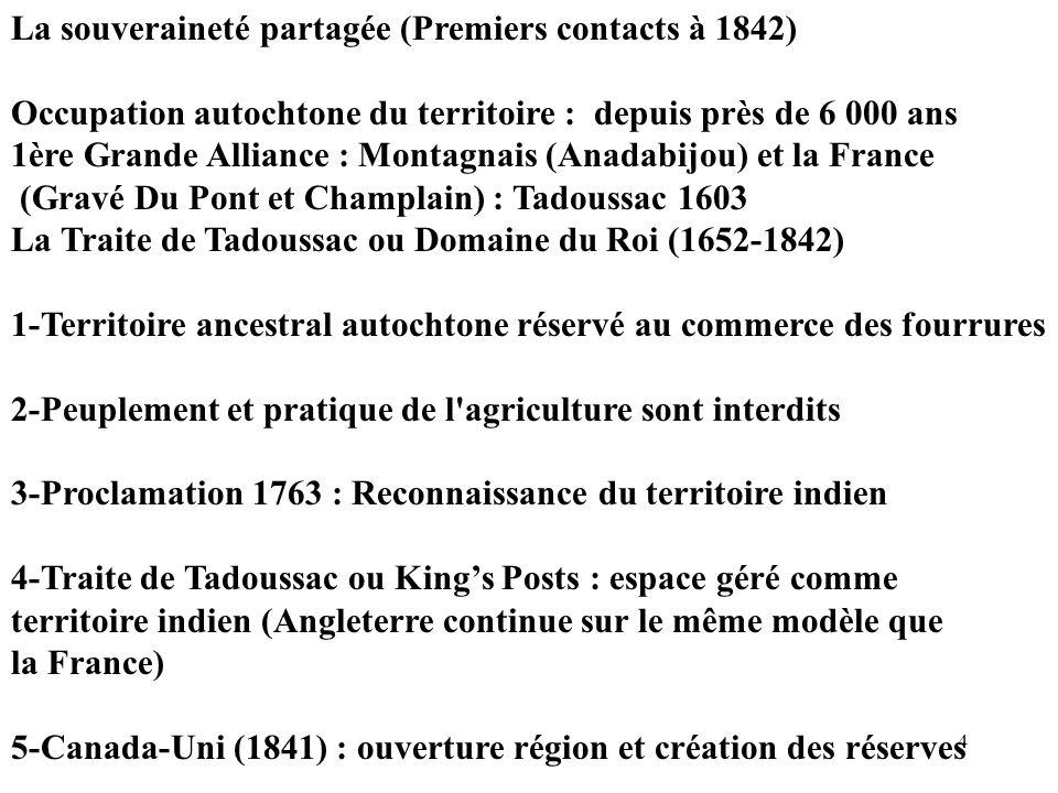 La souveraineté partagée (Premiers contacts à 1842)