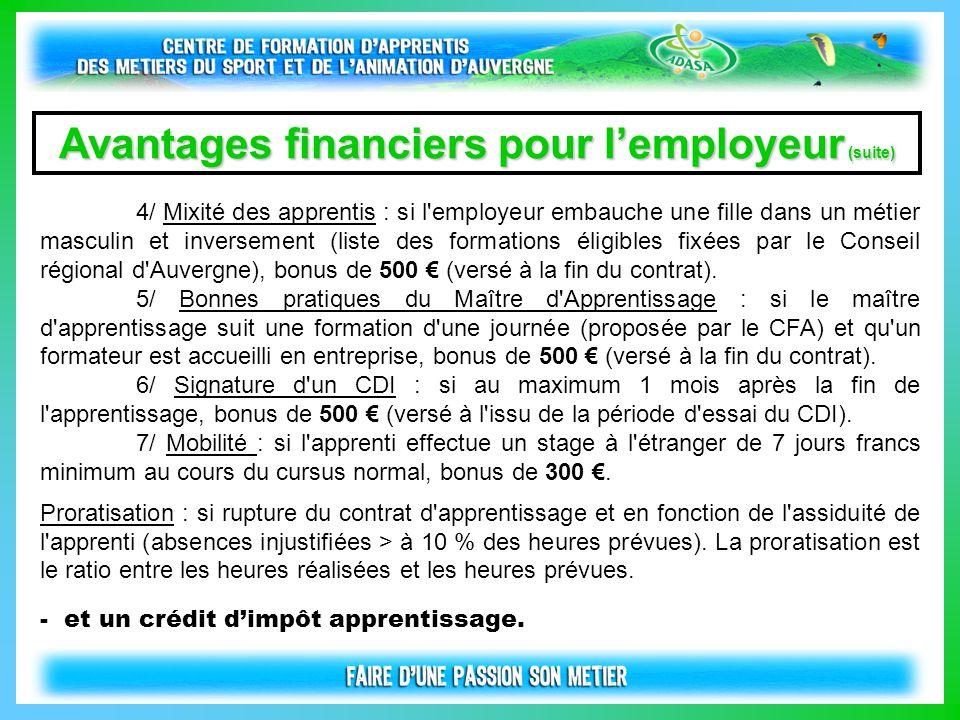 Avantages financiers pour l'employeur (suite)