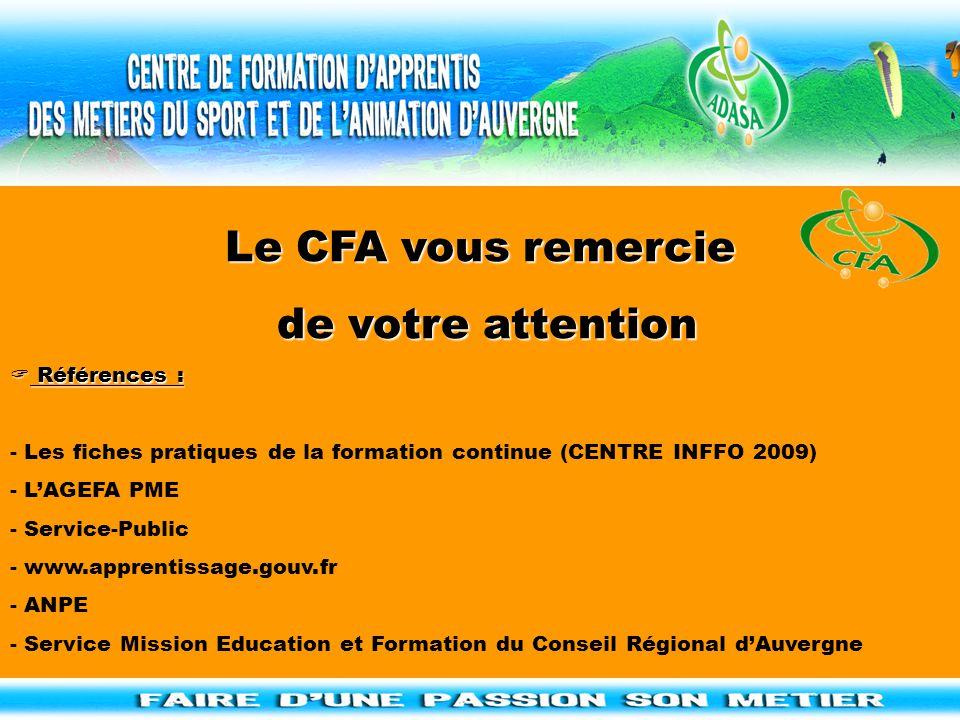 Le CFA vous remercie de votre attention