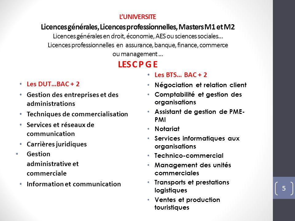 L'UNIVERSITE Licences générales, Licences professionnelles, Masters M1 et M2 Licences générales en droit, économie, AES ou sciences sociales… Licences professionnelles en assurance, banque, finance, commerce ou management … LES C P G E
