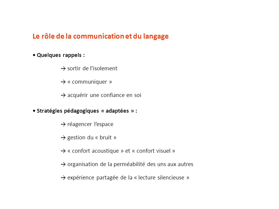 Le rôle de la communication et du langage